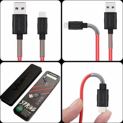 Kabel Data VIVAN SPRING FM100 USB Micro Android Fast Charging 2.4A Panjang 1M Original Eskomstore